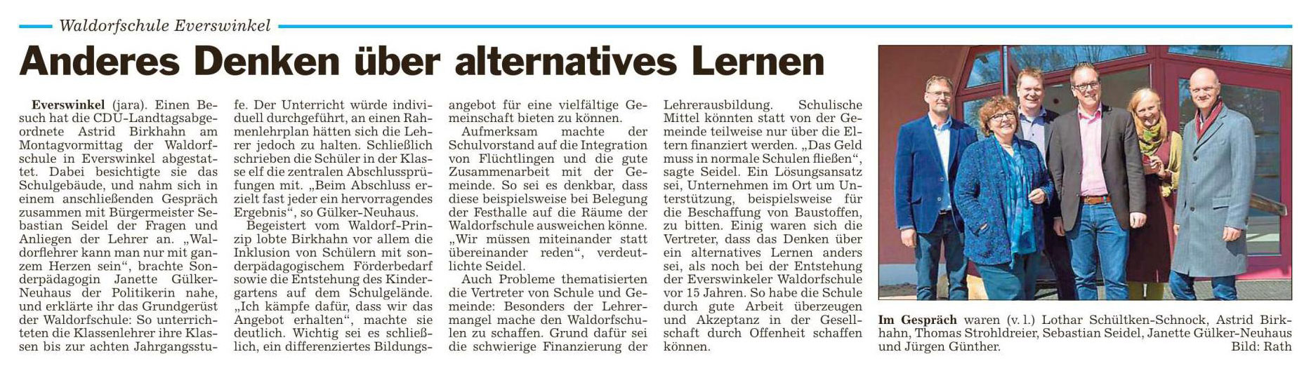 Besuch der Landtagsabgeordneten A. Birkhahn (19.3.2016)